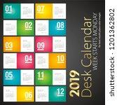 2019 new desk calendar monthly... | Shutterstock .eps vector #1201362802