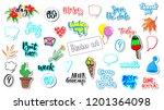 cute sticker set for diary ...   Shutterstock .eps vector #1201364098