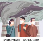 air pollution. people in masks... | Shutterstock .eps vector #1201378885