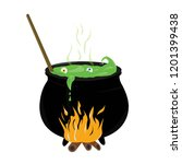 witch pot for a halloween party ... | Shutterstock .eps vector #1201399438
