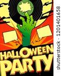 halloween party design mock up... | Shutterstock . vector #1201401658