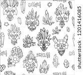 print with line crystal skulls... | Shutterstock .eps vector #1201416085