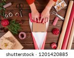 woman s hands wrapping... | Shutterstock . vector #1201420885