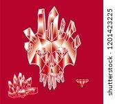 print with shine crystal skull. | Shutterstock . vector #1201423225