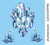print with shine crystal skull. | Shutterstock . vector #1201424998