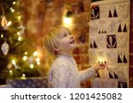 happy little boy takes sweet... | Shutterstock . vector #1201425082
