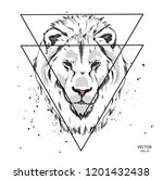 portrait of a lion in the... | Shutterstock .eps vector #1201432438