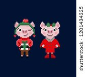 two pixel christmas pigs in... | Shutterstock .eps vector #1201434325