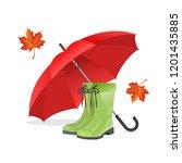 rubber boots  big red umbrella... | Shutterstock .eps vector #1201435885