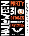 halloween party poster.... | Shutterstock .eps vector #1201438372