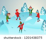 winter illustration. children... | Shutterstock .eps vector #1201438375