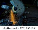 steel cutter  worker cutting... | Shutterstock . vector #1201456105