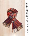 stripy scarf isolated on wooden ... | Shutterstock . vector #1201462798