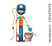 fisherman holding fish cane and ... | Shutterstock .eps vector #1201470478