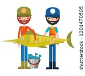 fisherman fish and bucket... | Shutterstock .eps vector #1201470505