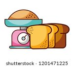 weight scale with bread food... | Shutterstock .eps vector #1201471225