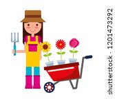 gardener girl with wheelbarrow... | Shutterstock .eps vector #1201473292