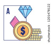 ace card poker coins casino... | Shutterstock .eps vector #1201478122