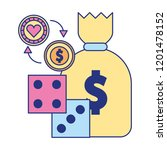 money bag dices coin chip... | Shutterstock .eps vector #1201478152