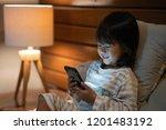 portrait little girl enjoy... | Shutterstock . vector #1201483192