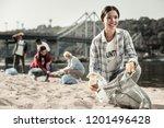 woman volunteering. beautiful... | Shutterstock . vector #1201496428