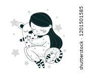 cartoon girl with a teddy bear. ... | Shutterstock .eps vector #1201501585