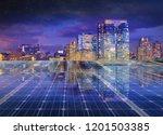 solar panel over cityscape... | Shutterstock . vector #1201503385