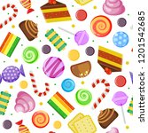 sweets pattern. biscuits cakes... | Shutterstock .eps vector #1201542685