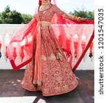pakistani indian bridal showing ... | Shutterstock . vector #1201547035