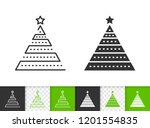 christmas tree black linear and ... | Shutterstock .eps vector #1201554835