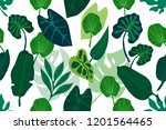 green wide jungle print.... | Shutterstock .eps vector #1201564465