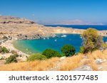 view on azure bay in lindos ... | Shutterstock . vector #1201577485