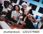 young people celebrating new... | Shutterstock . vector #1201579885