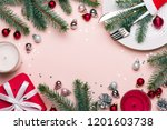 christmas festive frame with... | Shutterstock . vector #1201603738