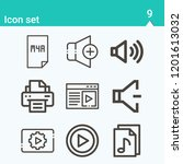 contains such icons as printer  ...   Shutterstock .eps vector #1201613032