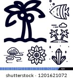 set of 6 nature outline icons...   Shutterstock .eps vector #1201621072