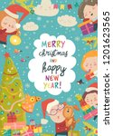 cute christmas frame with funny ... | Shutterstock .eps vector #1201623565