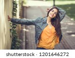 young woman with nice hair... | Shutterstock . vector #1201646272
