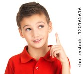 Portrait of cheerful boy with good idea -  isolated over white background - stock photo