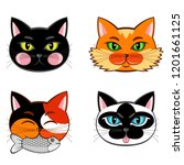 collection of four cat snouts. | Shutterstock .eps vector #1201661125