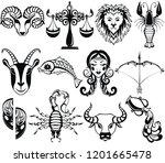 zodiac icons. cartoon zodiac... | Shutterstock .eps vector #1201665478