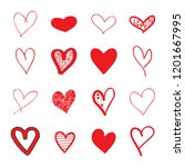 heart hand drawn icons set... | Shutterstock .eps vector #1201667995