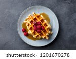 belgian waffles with maple... | Shutterstock . vector #1201670278