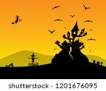 halloween background with... | Shutterstock . vector #1201676095