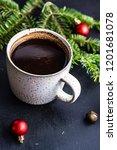 cup of coffee on dark wooden...   Shutterstock . vector #1201681078