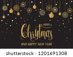 golden christmas snowflakes and ... | Shutterstock .eps vector #1201691308