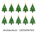 vector christmas tree emojis.... | Shutterstock .eps vector #1201696765
