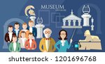 museum banner  history and... | Shutterstock .eps vector #1201696768