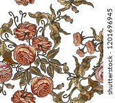roses embroidery seamless... | Shutterstock .eps vector #1201696945