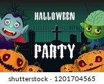 halloween party poster template.... | Shutterstock .eps vector #1201704565